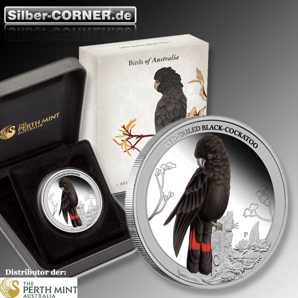 Birds of Australia Red Tailed Black Cockatoo 1/2 Oz Silber Proof + Box + CoA*