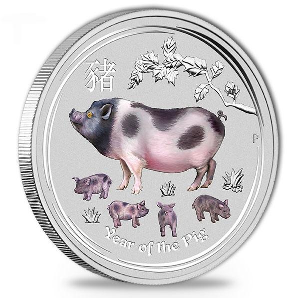 Lunar II - Schwein - 1 KG Silber Gemstone +Box +COA*