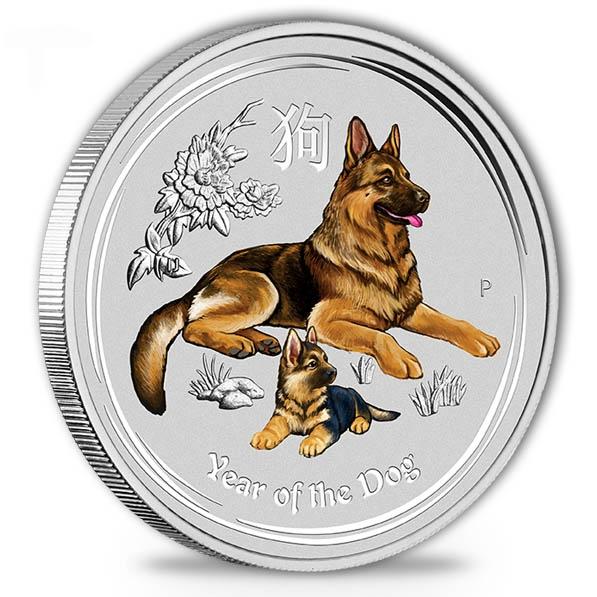 Lunar II Hund 1 Oz Silber farbig 2018 *