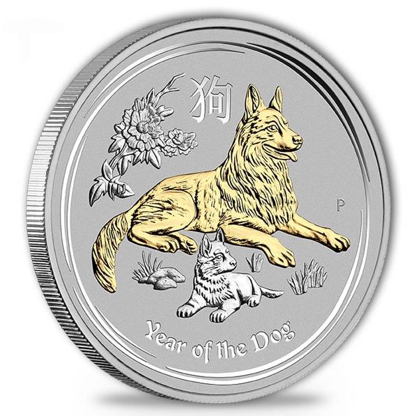 Lunar II - Hund - 1 Oz Silber vergoldet + Zertifikat *
