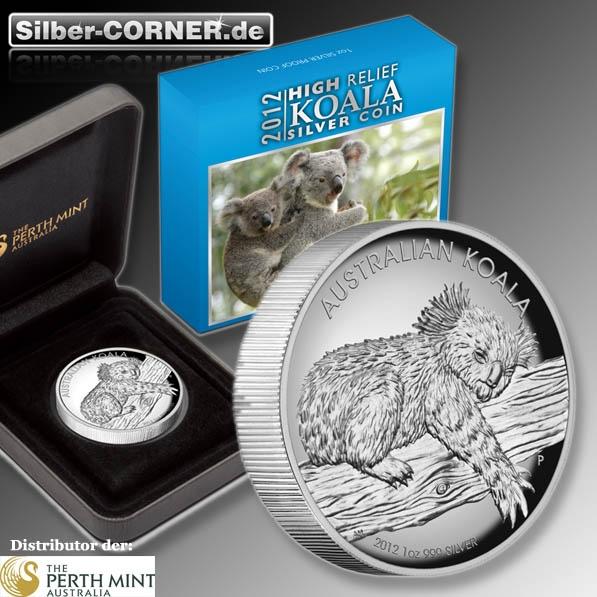 1 Oz Koala Silber Proof High Relief 2012