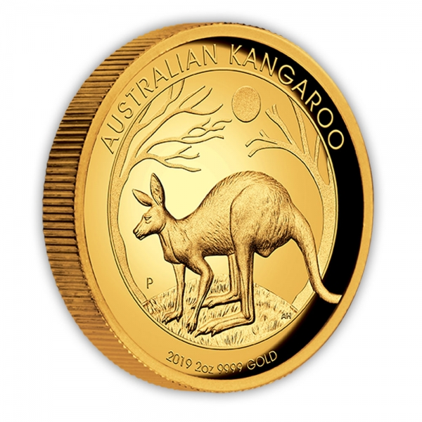 2 Oz Gold High Relief Känguru 2019