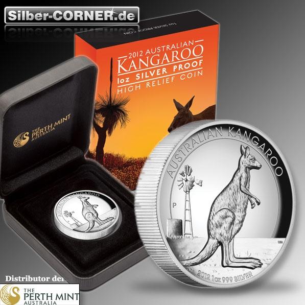 1 Oz High Relief Kangaroo 2012 + Box + CoA*