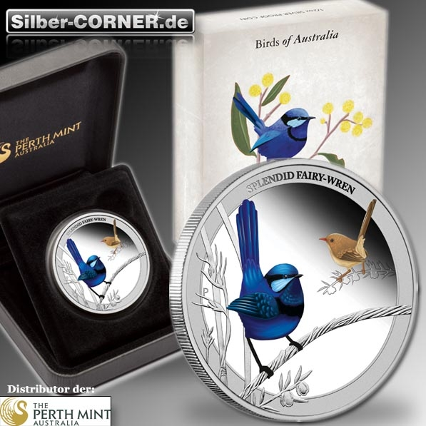 Birds of Australia - Splendid Fairy-Wren - 1/2 Oz Silber + Box + COA *