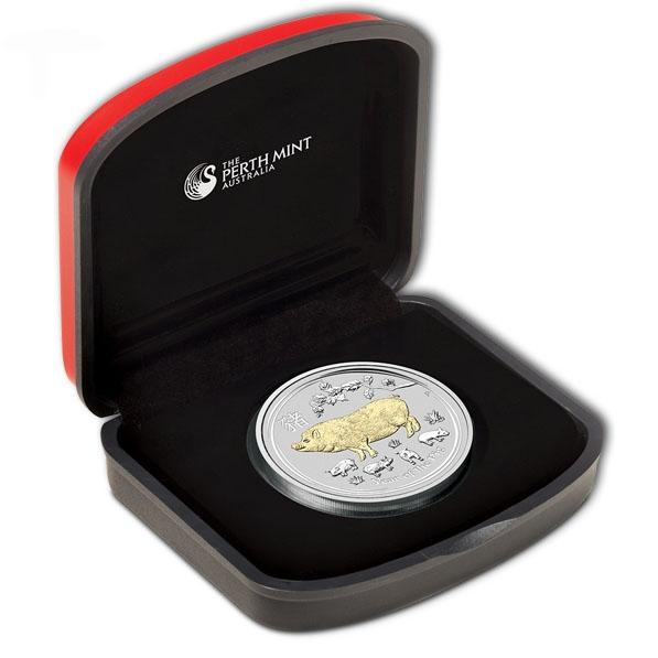 Lunar II - Schwein - 1 Oz Silber gilded +Box +COA*