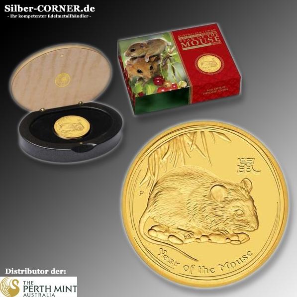 Lunar II Maus 1/10 Oz Gold Proof + Box + CoA