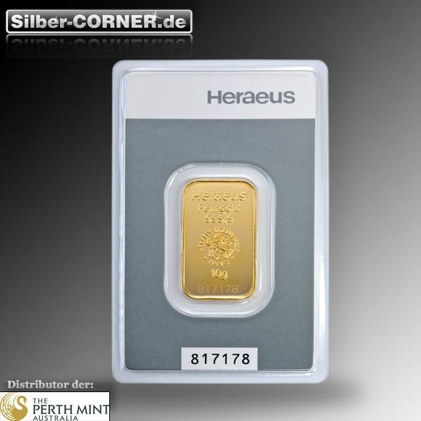 Heraeus 10 Gramm Goldbarren im Blister
