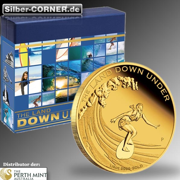 The Land Down Under 1/4 Oz Gold Surfing Proof Coin 2013