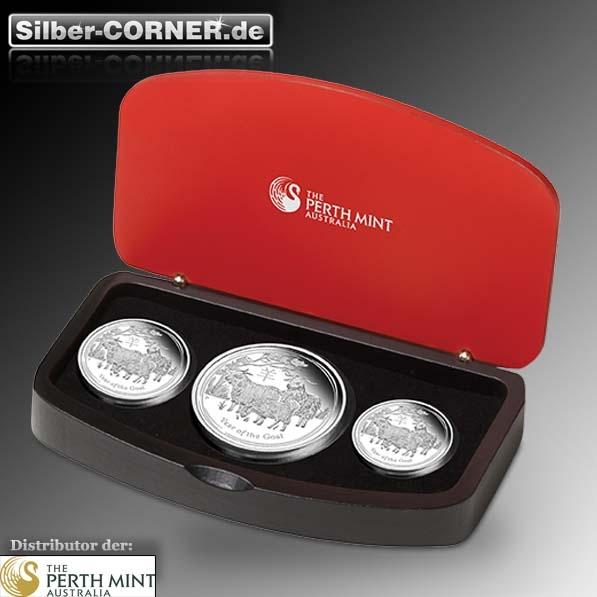 Lunar II Ziege Silber 3 Coin Set + Box + CoA 2015*