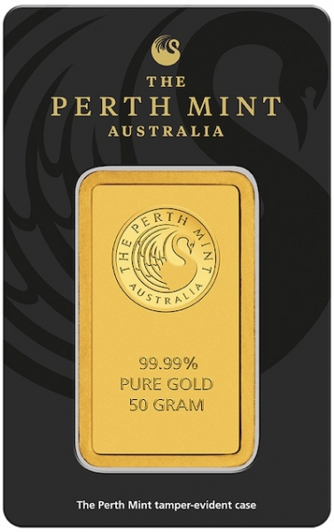 50 Gramm Goldbarren Perth Mint Känguru