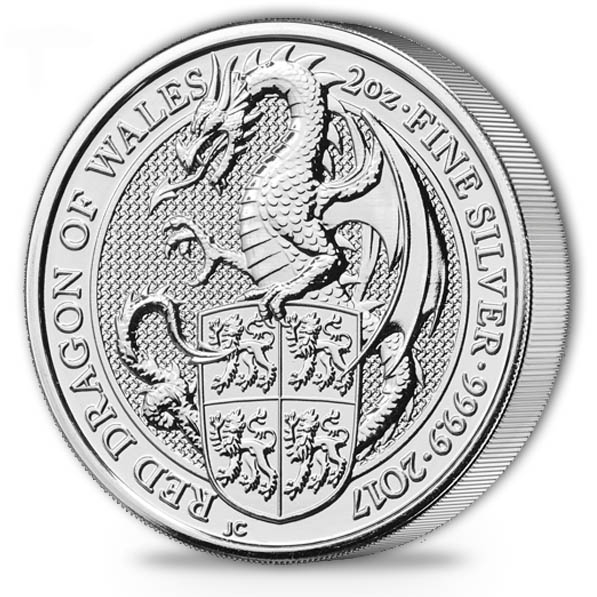 Queens Beasts Dragon Wales 2 Oz Silbermünze