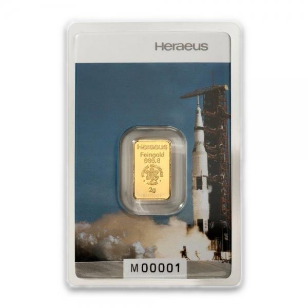 2 Gramm Goldbarren Mondlandung Heraeus
