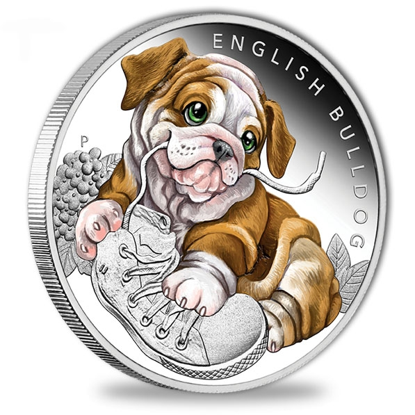 Puppies - English Bulldog - 1/2 Oz Silber Proof 2018 *
