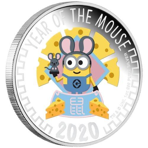 Minions - Jahr der Maus - 1 Oz Silber Proof 2020 + Box*