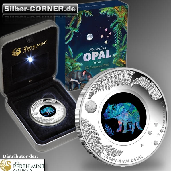 Australian Opal Series- Tasmanian Devil 1 Oz Silber Proof+Box+CoA*