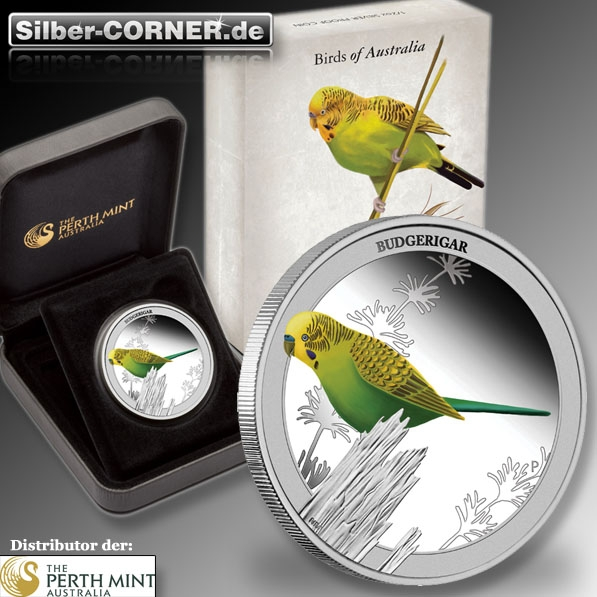2013 Birds of Australia - Budgerigar 1/2 Oz Proof Silber Coin + Box + CoA*