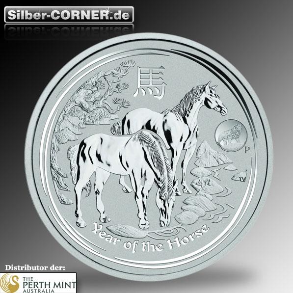 Lunar II Privy Mark Pferd 1 Oz Silber 2014 *