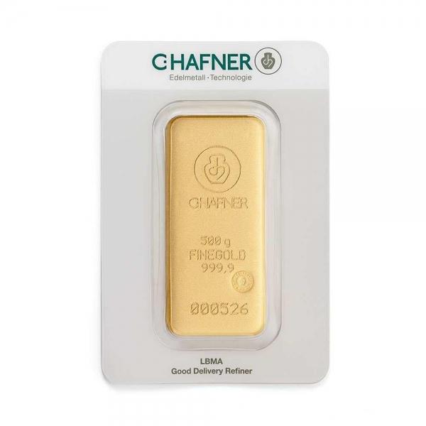 500 Gramm Goldbarren Hafner gegossen