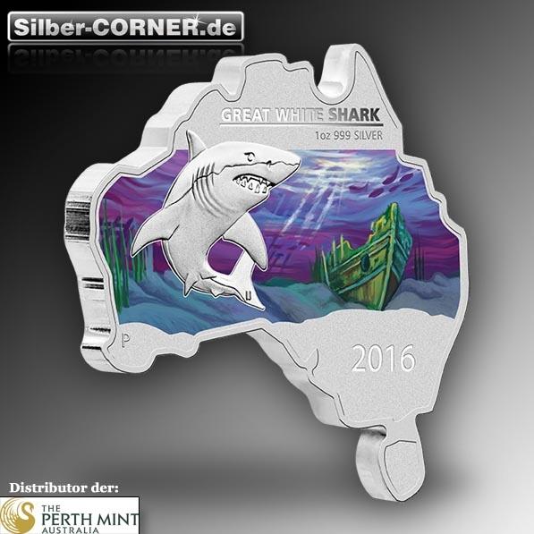 Australische Landkarte 1 Oz Silber mit Weisser Hai