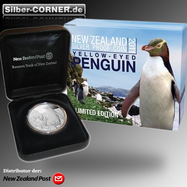 2011 Yellow-Eyed Penguin 1 Oz Silber Proof*