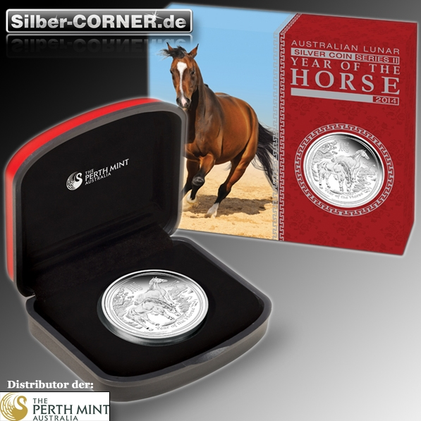 Lunar II Pferd 1 Oz Silber Proof + Box + CoA 2014*