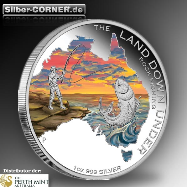 The Land Down Under 1 Oz Silber Proof Rock Fishing *