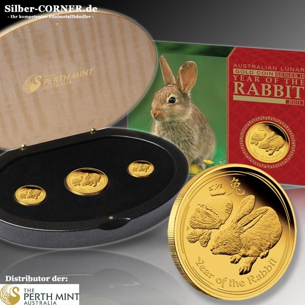 Lunar II Hase 3 Coin Set Gold Proof
