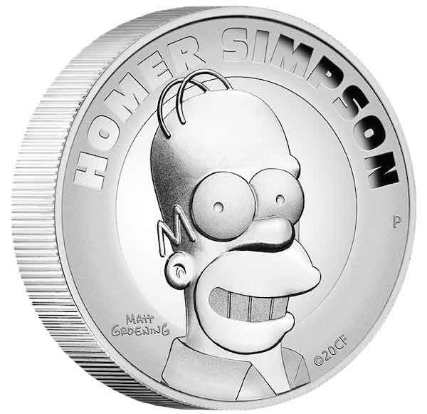 The Simpsons - Homer - 2 Unzen Silber High Relief +Box