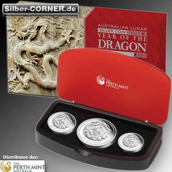 Lunar II Drache 3-Coin-Proof-Set + Box + COA *