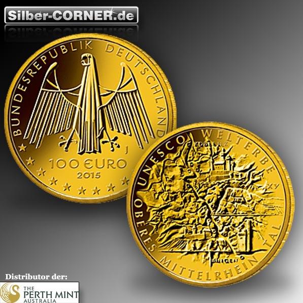 100 Euro 1/2 Oz Gold Mittelrheintal 2015 + Box + COA