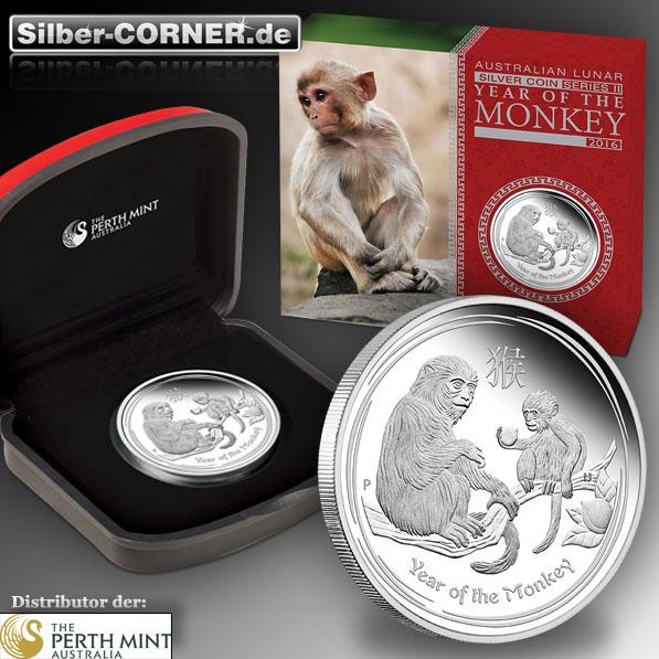 Lunar II Affe 1 Oz Silber Proof Coin+ Box + CoA 2016*