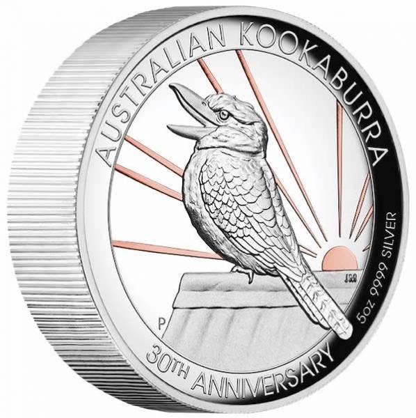 Kookaburra 5 Oz Silber -gilded- High Relief 2020*