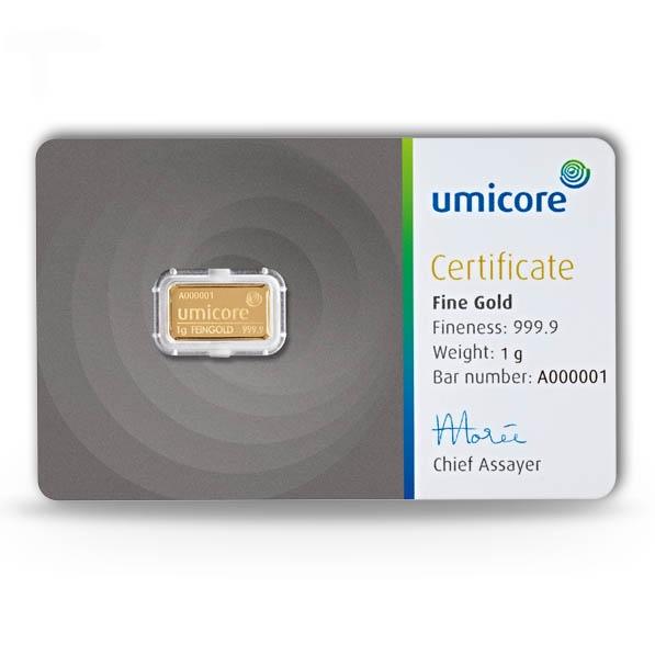 Umicore Goldbarren 1 Gramm