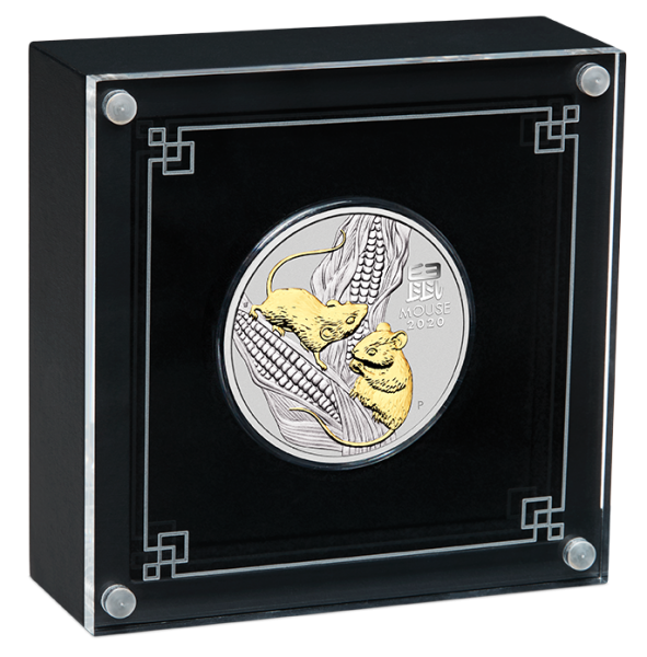 Lunar 3 - Maus - 1 Oz Silber gilded 2020 + Box + CoA *