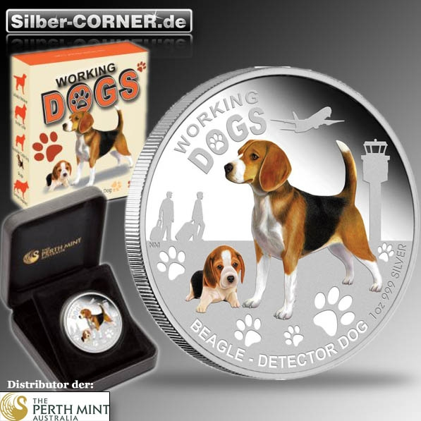 Working Dogs - Beagle 1 Oz Silber Proof*