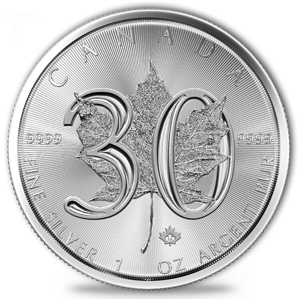 30th Anniversary Maple Leaf 2018 1 Oz Silber *