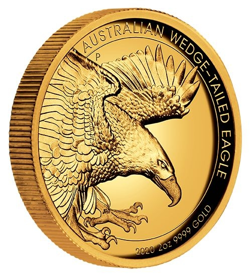 Wedge Tailed Eagle High Relief 2 Oz Gold 2020 +Box +COA
