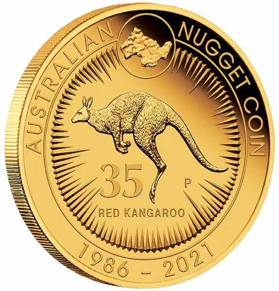 Australien Känguru - 35 Jahre Edition - 1/4 Oz Gold Proof +Box +COA
