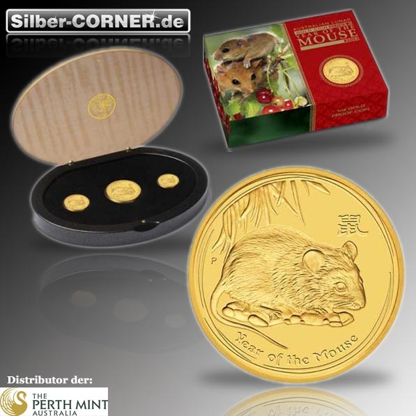 Lunar II - Jahr der Maus - 2008 3-Coin-Set Gold Proof