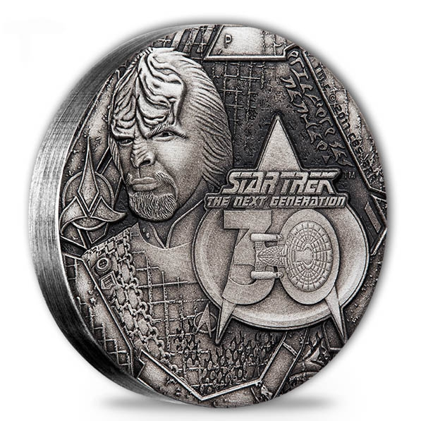 Star Trek - Commander Worf - 2 Oz Silber Antique*