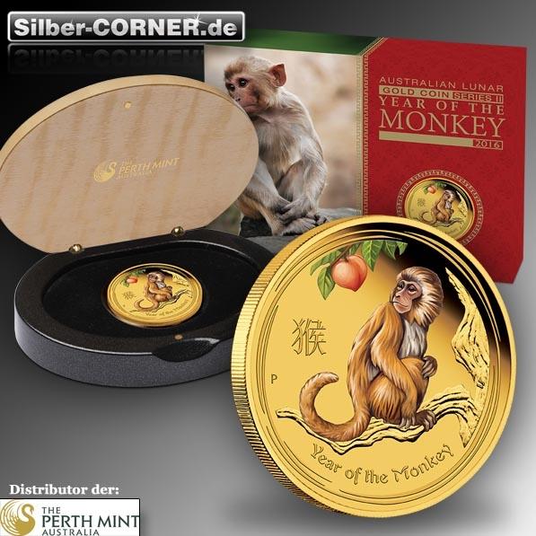 1 Oz Gold coloriert Jahr des Affen