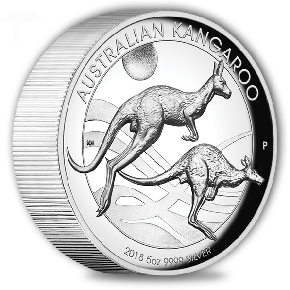 Australien Känguru 5 Oz Silber High Relief 2018 +Box + COA*