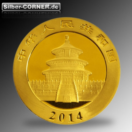 Rückseite 1/10 Oz Gold China Panda 2014
