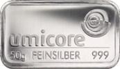 50 Gramm Silberbarren Umicore