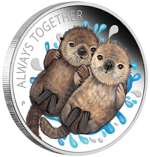 Always Together - Otters - 1/2 Oz Silber Proof +Box +COA*