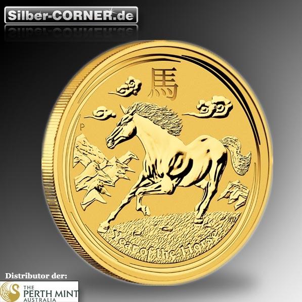 Lunar II Pferd 2 Oz Gold 2014
