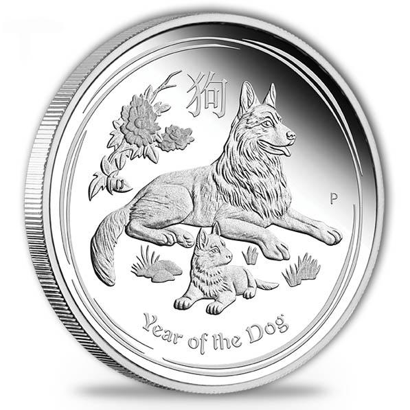 Lunar II - Hund - 1/2 Oz Silber Proof + Box + COA*
