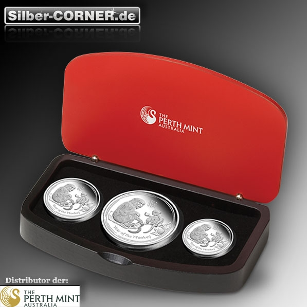 Lunar II Affe Silber 3 Coin Set Proof 2016 +Box +COA*