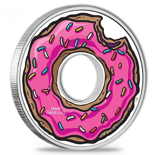 Simpsons - Donut - 1 Unze Silber Proof + Box +COA*