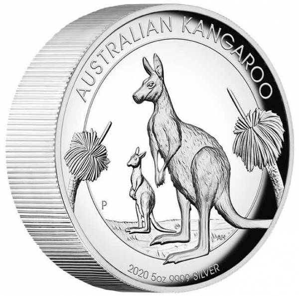 Australien Känguru 5 Oz Silber High Relief 2020 +Box +COA*